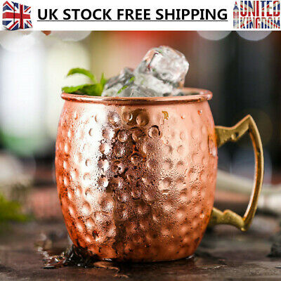 Hammered Moscow Mule Copper Brass Plated Mug Stainless Steel Drum Beer Water Cup