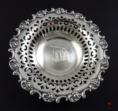 c1900 Towle Sterling Silver Decorative Openwork Floral Nut/Candy Dish or Bowl