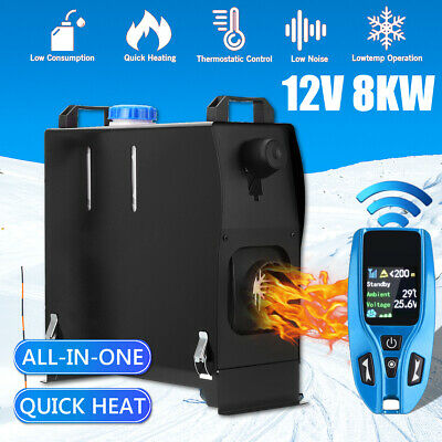 All in One 1-8KW 12V Diesel Air Heater LCD Wireless Remote Control For Truck Bus