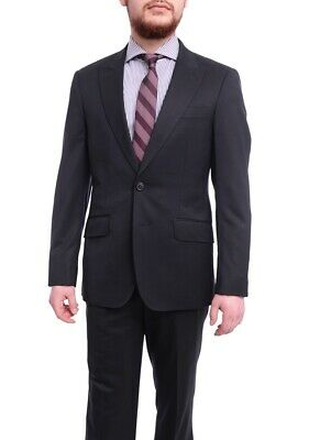 Mens 40S Arthur Black Extra Slim Fit Solid Navy Blue Two Button Wool Suit