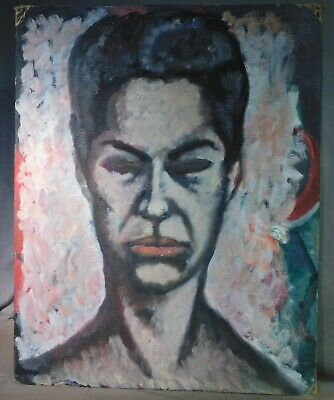 Vintage Mid-Century Modern Expressionist OUTSIDER Painting Portrait Woman BOLD