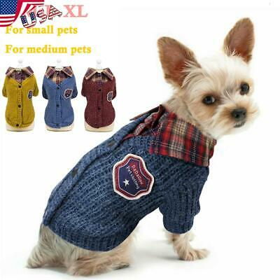 USA Knitted Small Dog Sweater Chihuahua Clothes Winter Knitwear Pet Puppy Jumper