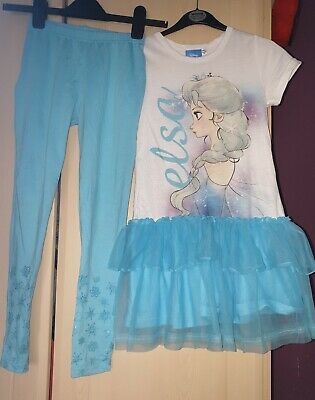 girls two piece frozen legging outfit age 9-10 years