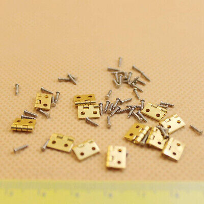 Dolls House Miniatures 4 Brass Plated Hinges 15mm x 7mm /& Nails DIY Fixtures,