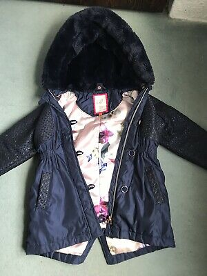 Stunning Girls Navy Blue Ted Baker Winter Coat With Floral Lining Age 4-5