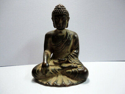Old Chinese Vintage Bronze Tibet Buddha Paperweight Figurine Art Sculpture