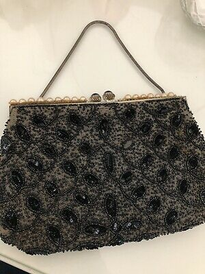 Vintage Black Beaded Evening Bag with satin lining and pearl details