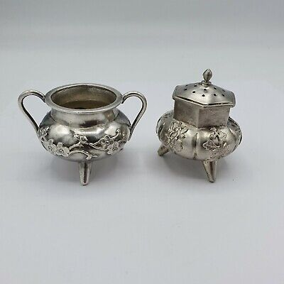 antique chinese export silver Salt & Pepper S.C. ~ 1900-20 / Salz & Peffer China