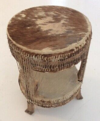 "Vintage African ""Tam-Tam"" Drum Table In Cow-hide"