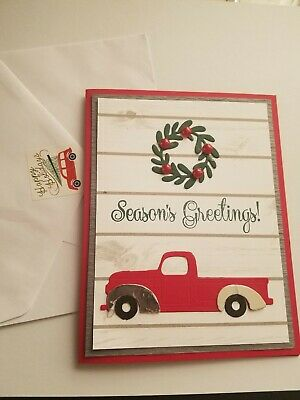 Christmas card kit, Stampin Up, papertrey, red, truck, woodgrain, wreath