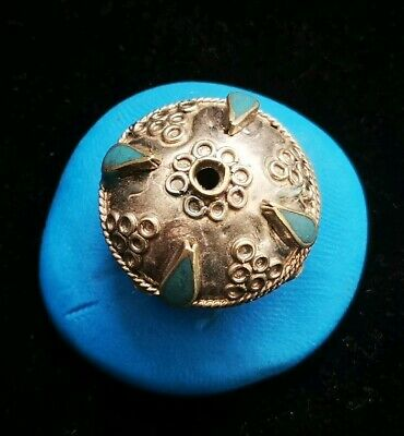 FANTASTIC MEDIEVAL SILVER BEAD WITH RARE TURQUOISE STONES 24. 36mm 4.3gr