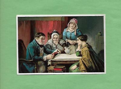 FAMILY READS BIBLE On DR. JAYNE'S REMEDY Victorian Trade Card--QUACK MEDICINE
