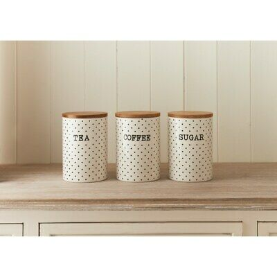 Set of 3 Tea/Coffee/Sugar Ceramic Storage Jars Canisters Kitchen Essentials