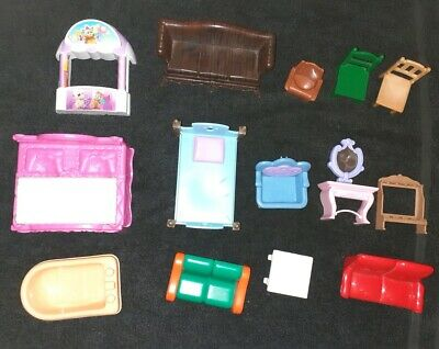 Joblot Plastic Dolls House Furniture~ Beds,Sofas,Chairs & other items