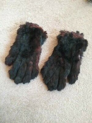 Vintage Ladies Fur Leather Gloves