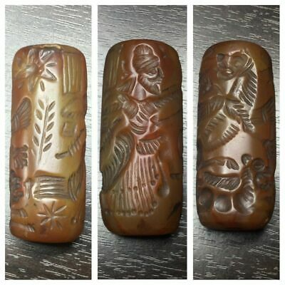 Ancient Central Asia carnelian cylinder seal intaglio king hunting