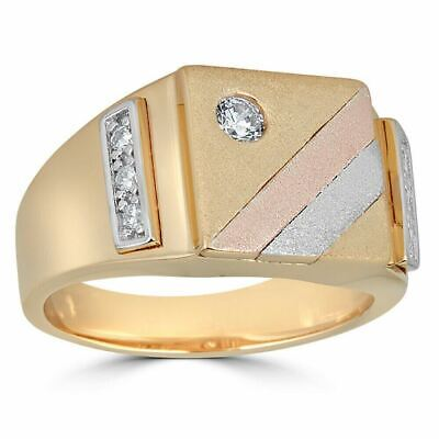 Mens Tri-Color 14k Yellow, Rose Gold, & 925 Silver Real Icy Ring Size 7-13 Pinky