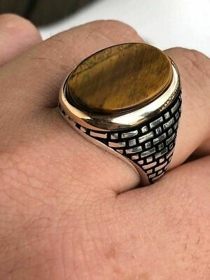 Solid 10k Gold & 925 Sterling Silver Tiger's Eye Mens LARGE Ring Size 7-13 Pinky