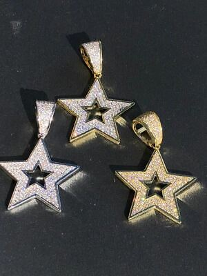 Real Solid 925 Silver Super STAR Pendant Hip Hop Iced Icy Diamond 14k Gold SHINY