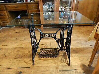 Vtg Singer Treadle Sewing Machine Iron Base Rolling Legs Glass Table Top