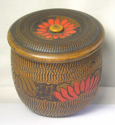 An Antique Japanese Turned Carved Wood Box Z34