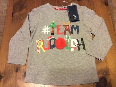 Boy's Grey Christmas '# Team Rudolph' Top. 9-12 Months Tu. BNWT