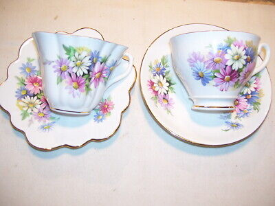 Lot #1 Pair of Bone China England Daisy Cups & Saucers