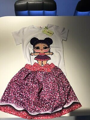 Lol Surprise Dolls Game Costume Outfits Sets Summer T-shirt+Tutu Skirt+Bag Dress