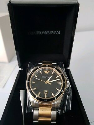 New Emporio Armani Mens Genuine Steel Watch - Ar80017 - Rrp £369 Two Tone Watch