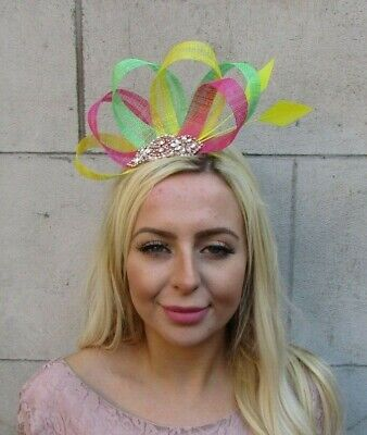 Yellow Hot Pink Lime Green Rose Gold Fascinator Feather Sinamay Races Hair 7837