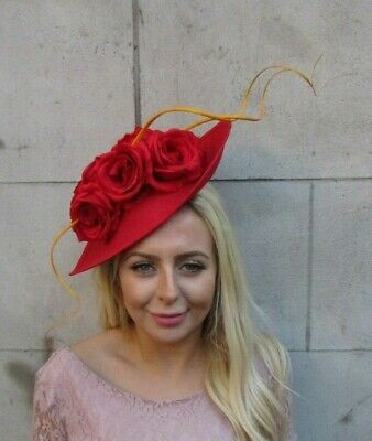 Large Mustard Yellow Red Rose Flower Feather Fascinator Hat Headband Races 7843