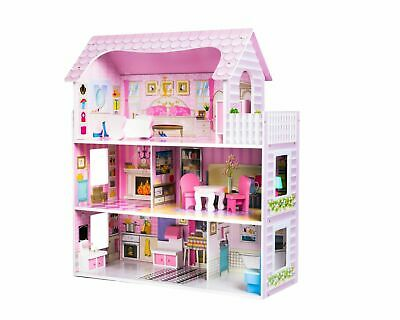 Super toys Large Wooden Doll House with Furniture Dollhouse Toy for Girls new
