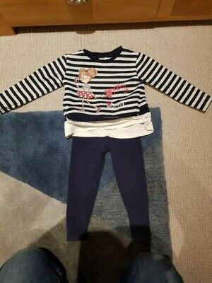 Girls Spanish outfit, brand is Mayoral, 2 years, blue stripey top, blue trousers