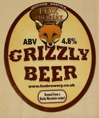 FOX brewery Beer pump clip BRANTHILL GRIZZLY BEER real ale badge front Norfolk