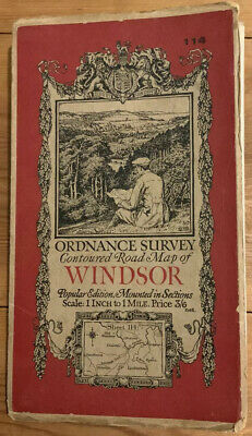 Old Viintage 1928 OS Popular Edition One-Inch Map 114 Windsor Ordnance Survey