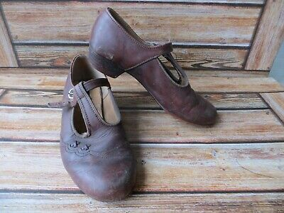 Vintage Girls Clarks T Bar Shoes Leather Uppers 1940'S? Size 12.5 Junior