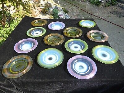 15 Vintage Murano Ribbed Candy Plates Stunningly Beautiful  Wavy Venitian Glass