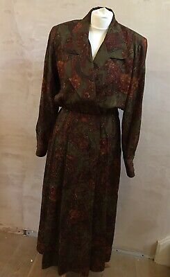 Vintage St. Gillian 100% Silk Green Red Floral Maxi Dress Long Sleeve Collared 8