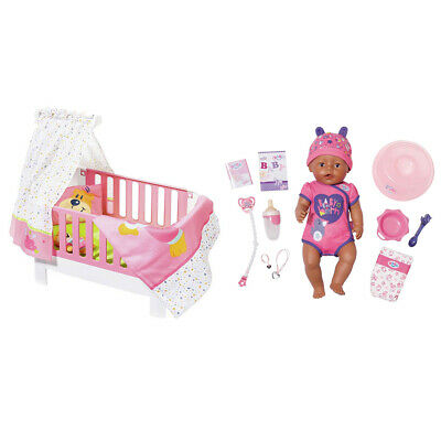 Baby Born 43cm Soft Touch Girl Pink Doll & Magic Bed Heaven 39-46cm Bed/Cot 3y+