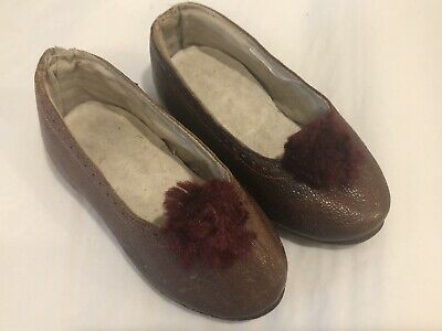 Antique Victorian Leather Childs Shoes Pom Pom Detail