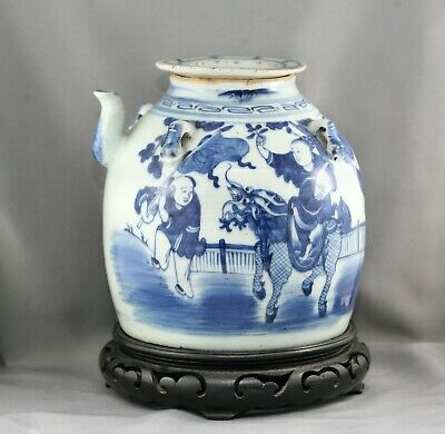 Spectacular Antique Chinese blue & White Teapot Qing Dynasty c1850s Wooden Stand