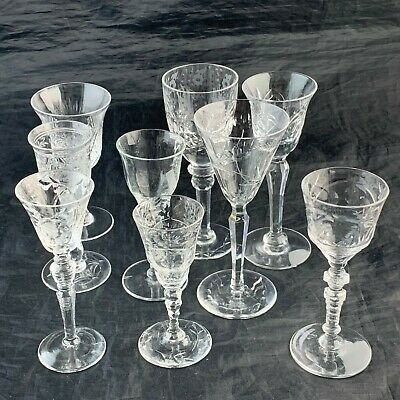 Vintage Etched Footed Shot/Cordial Glass Set 9 Mix Pattern Stemware Drinkware