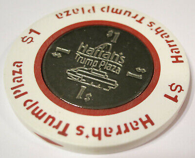 Vintage 1984 HARRAH'S TRUMP PLAZA Coin Inlay $1 Casino Chip Atlantic City N.J.