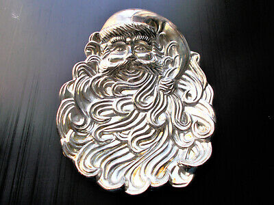 Santa Claus Serving Tray Candy Dish International Silver Plated Christmas 1994