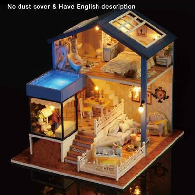 DIY Wooden Doll House Villa Miniatures Model Puzzle Furnitures With LEDS Lights
