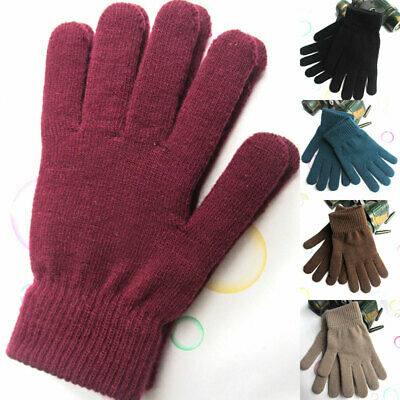 HOT Winter Ribbed Knitted Solid Color Thicken Warm Mittens Full Finger Gloves