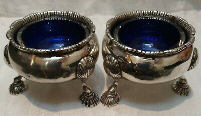 Antique Solid Silver Pair Of Salt Cellars with Liners Circa 1760-London