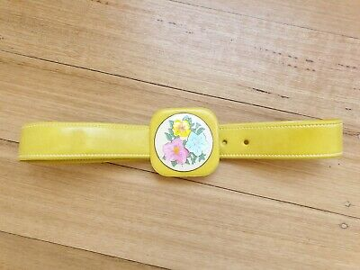 Vintage Yellow belt 60s 70s with Flower Power buckle Made in England painted