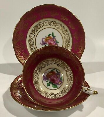 PARAGON PINK ROSE on MAROON CUP, SAUCER & Plate with Gold Filigree c1938-1952