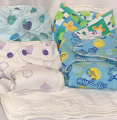 Meg A Roo's Extended Tab Bamboo Prefold Diapers Size Small Lot of 4 + 2 Doublers